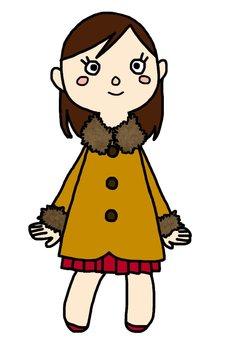 Coat girl with fur