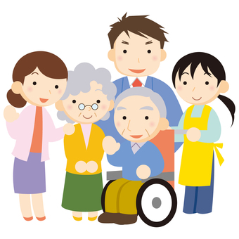 Care worker and family