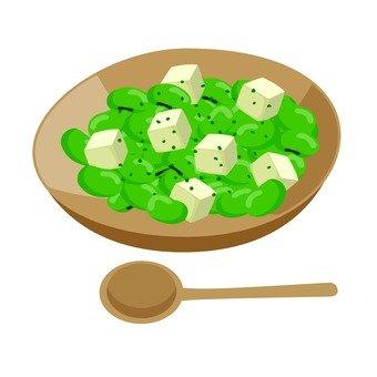Tofu and fava beans salad