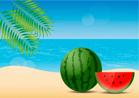 Illustration of summer sea and watermelon