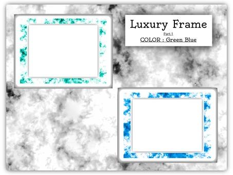 鏡框大理石狀鏡框綠色和藍色1