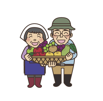 Farm couple with fall fruit