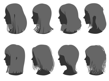 Female head silhouette hair style 5