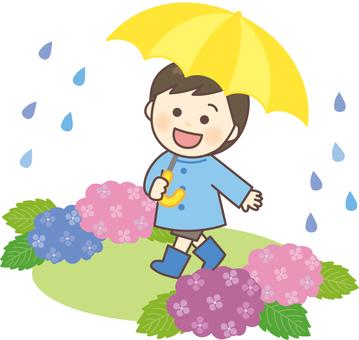 A boy taking a walk on a rainy day