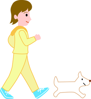 Walking women and dogs
