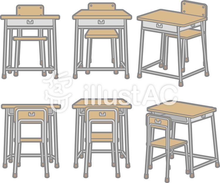 学校用机と椅子イラスト No 884450無料イラストならイラストac