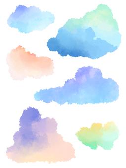 구름의 수채화 일러스트 소재