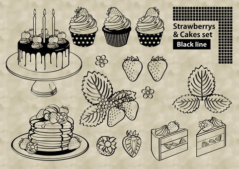 Strawberry and cake set various line drawing style
