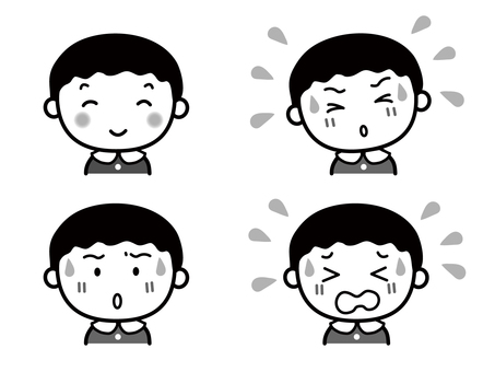 Boy facial expression set monochrome