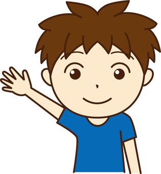 A hand-raising boy
