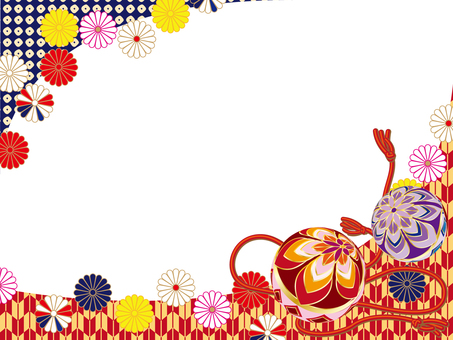New Year Frame 006 Japanese Pattern Ball