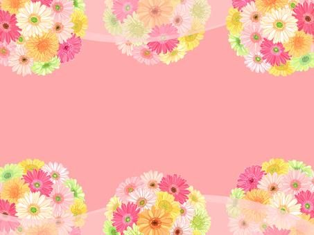 ガーベラの花てまり枠(ピンク)背景付