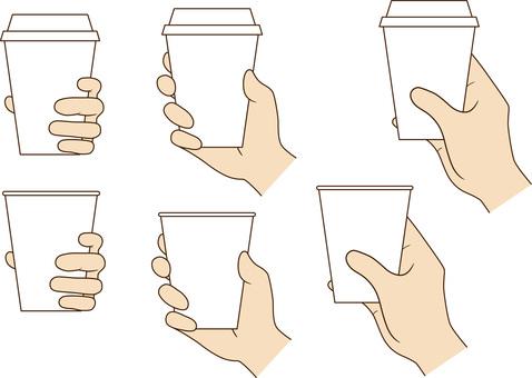 紙コップを持つ手_片手