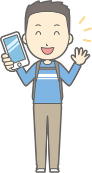 Male tourism youth a - with smartphone - whole body