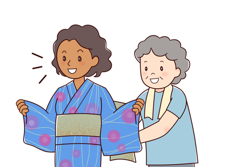 Black women wearing yukata