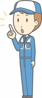 Mechanic male a - finger-pointing diagonal left - whole body