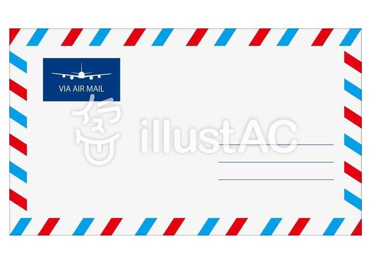 エアメール用海外用封筒のフレーム飾り枠イラスト上下の柄w700