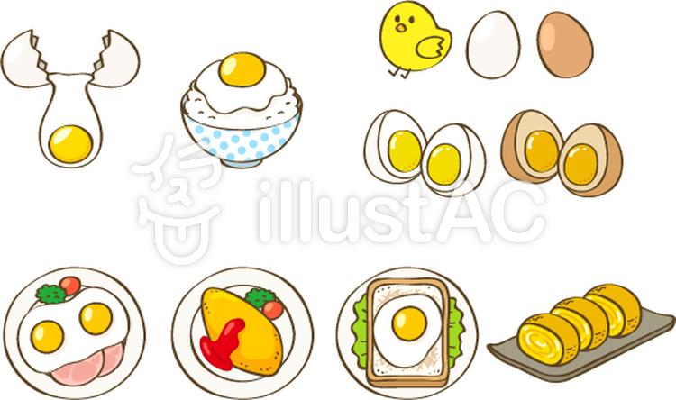 卵料理とひよこイラスト No 800868無料イラストならイラストac