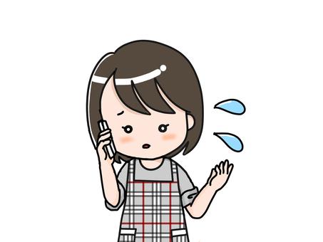 전화로 설명을하는 엄마