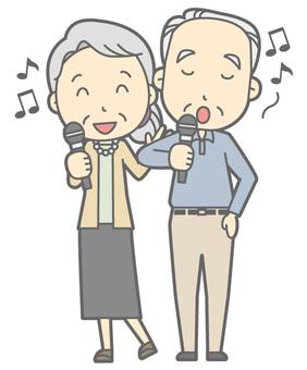 Elderly couple - Karaoke - whole body