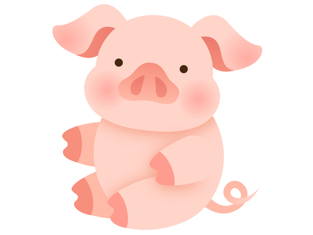 Illustration of a sitting pig