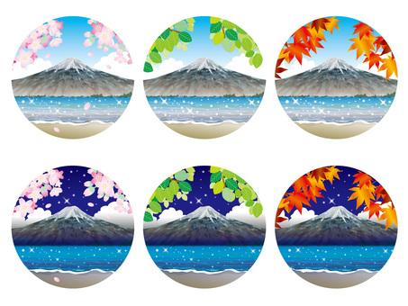 Four Season Summary (16) Mt. Fuji and the shore of the lake