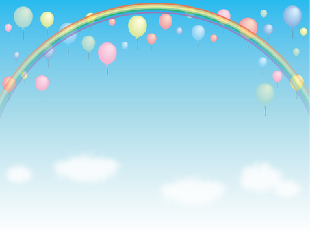 Blue sky and rainbow and balloon