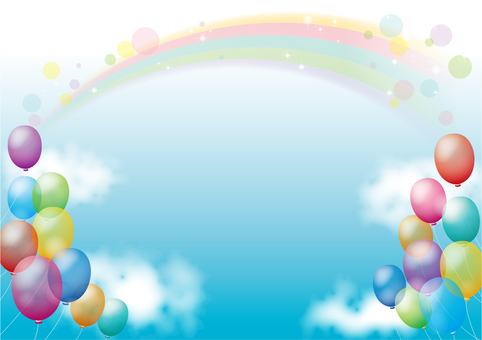 Balloon and rainbow background