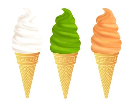 Soft cream (vanilla, matcha, melon)