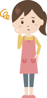 Woman | housewife | apron | troubled face