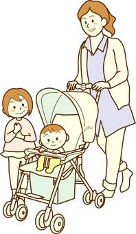 嬰兒車和父母和孩子