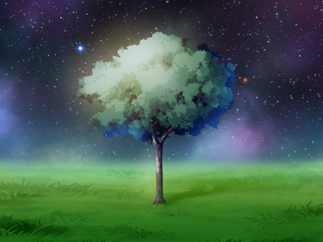 Space tree grassland night
