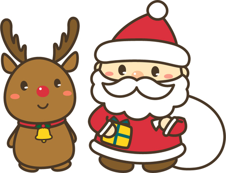 With Santa and reindeer _ line
