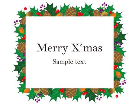 クリスマスイメージのイラストフレーム素材