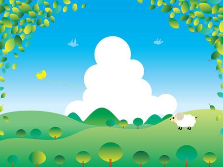 夏の新緑の風景