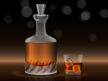Whiskey bottles and glasses