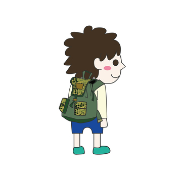 A boy carrying a backpack
