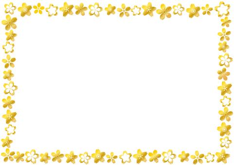 金色の桜花びらフレーム枠-かわいい和風柄