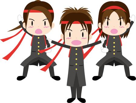 Cheering team 3 people (girls)