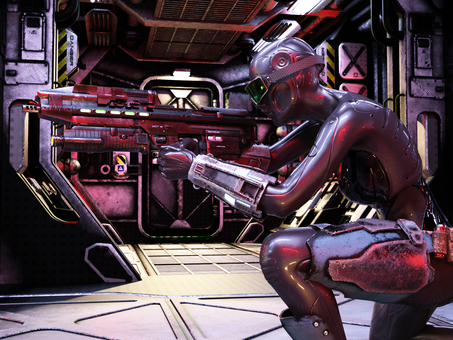 Female cyborg fighter holding a gun in a spaceship aisle