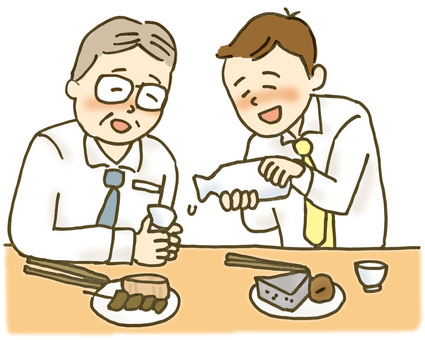 Salary man and oden and sake