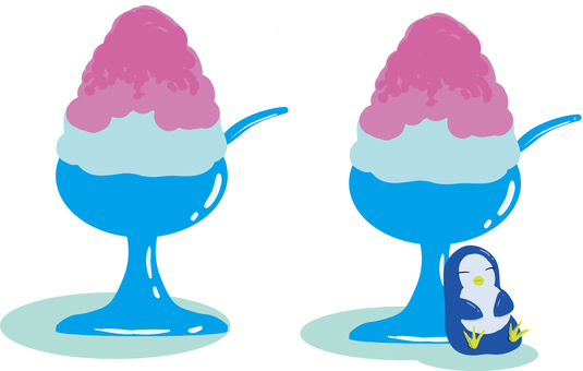 Penguin and shaved ice