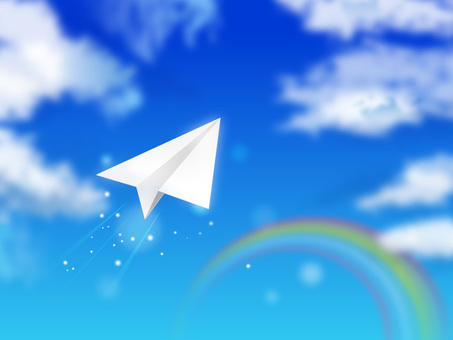 Blue sky and paper airplane 06