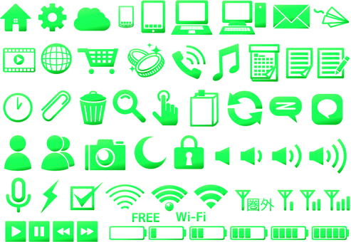 Mobile icon collection green