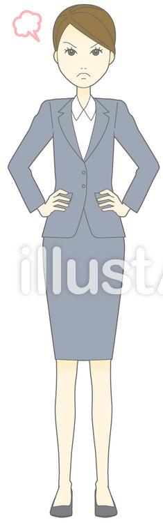 D女性スーツ-怒る-全身のイラスト