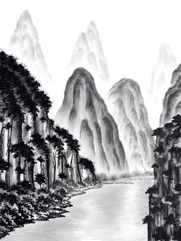 Suiboku style style landscape