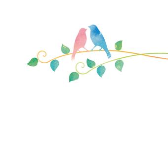 小枝で寄り添う小鳥たち
