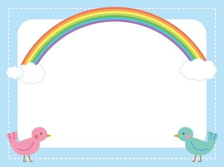 Rainbow and little bird frame