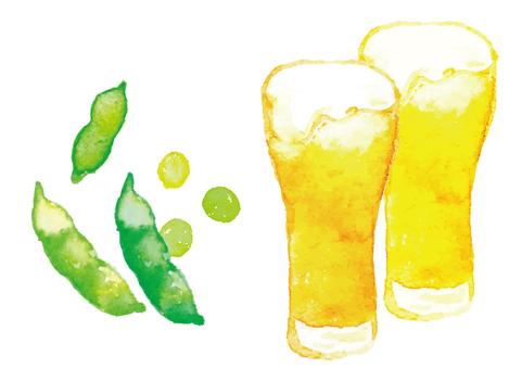 """""""수채화 바람""""맥주와 완두콩"""