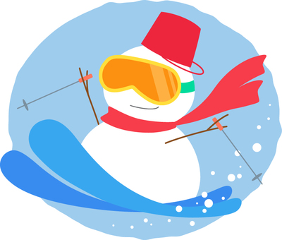 Snowman's ski _ round background